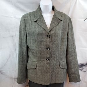 Casual Corner Wool Jacket Size 12 Black and White